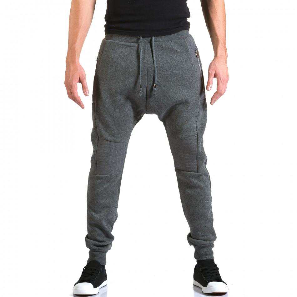 Ανδρικό γκρι παντελόνι jogger New Star it211015-55