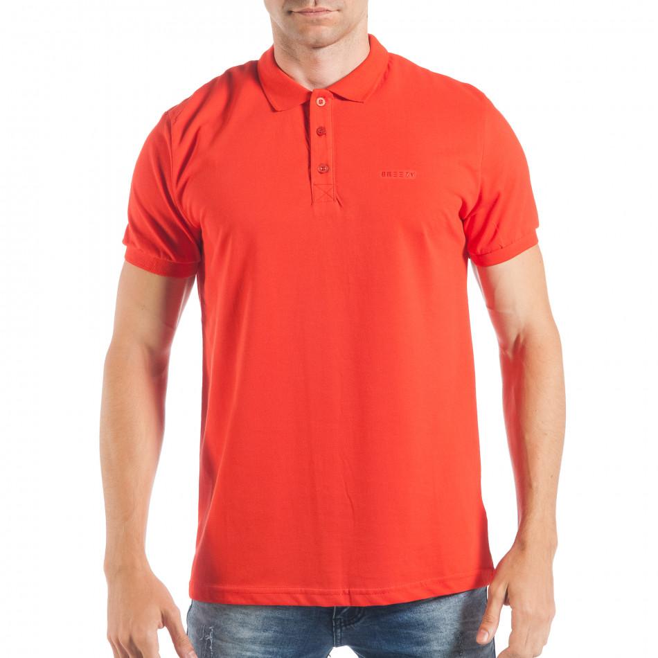 Ανδρική κόκκινη πόλο basic μοντέλο tsf250518-33