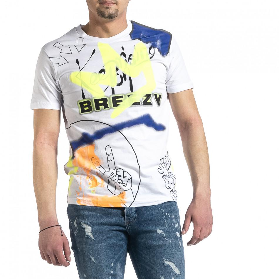 Ανδρική λευκή κοντομάνικη μπλούζα Breezy tr270221-38