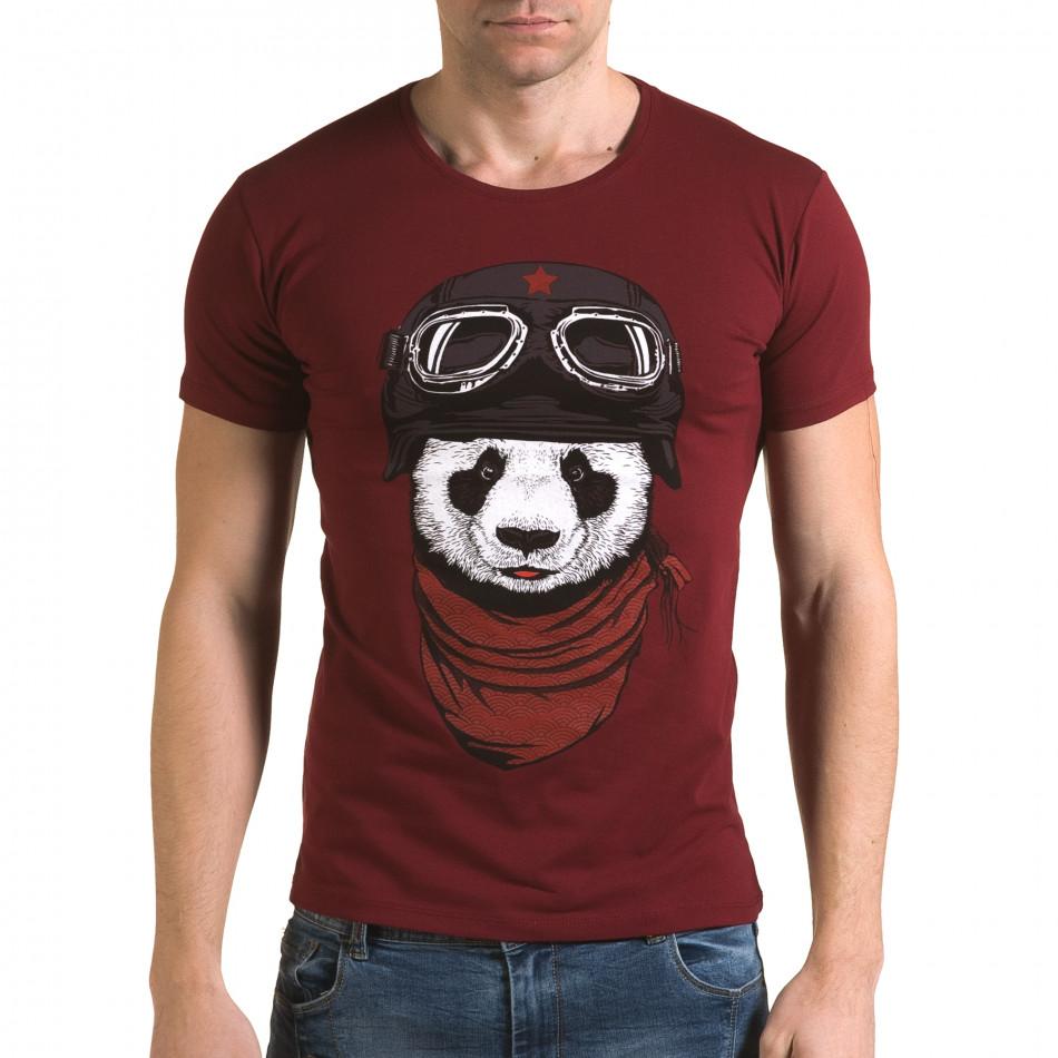 Ανδρική κόκκινη κοντομάνικη μπλούζα Lagos il120216-7
