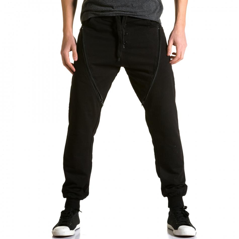 Ανδρικό μαύρο παντελόνι jogger DelPiero ca190116-25