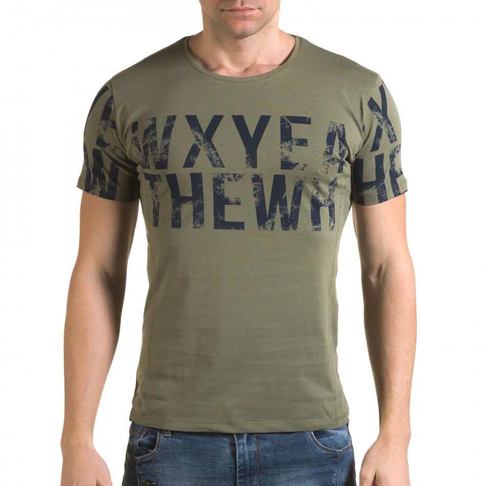 Ανδρική πράσινη κοντομάνικη μπλούζα Lagos il120216-33