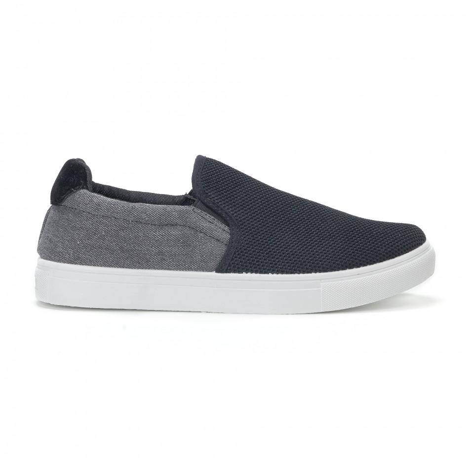 Ανδρικά μαύρα διχτυωτά sneakers slip-on it160318-13