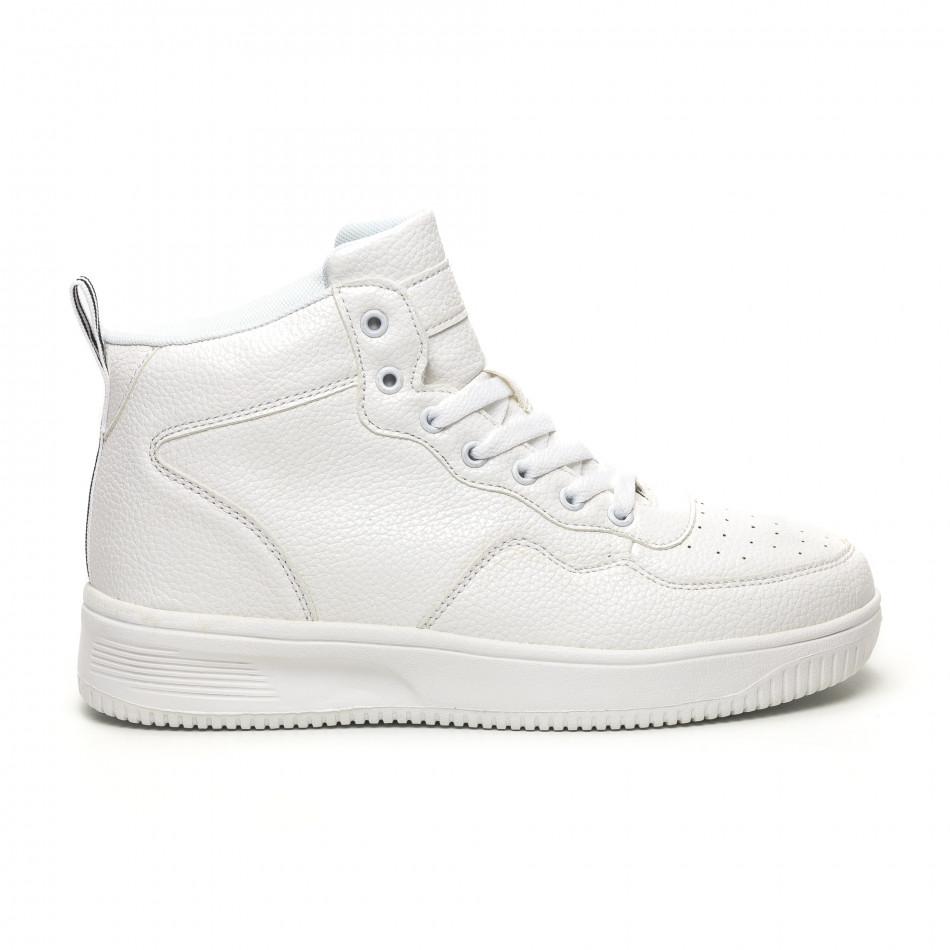 Ανδρικά ψηλά λευκά sneakers με Shagreen design it251019-17