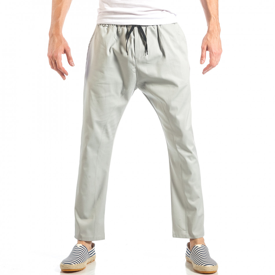 Ανδρικό γκρι ελεύθερο παντελόνι με λάστιχο it040518-18