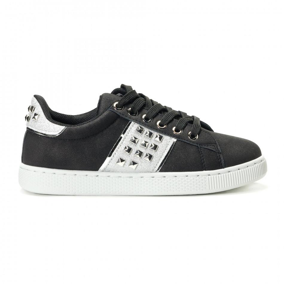 c3e858c637f Γυναικεία μαύρα υφασμάτινα sneakers με κορδόνια και ασημένιες λεπτομέρειες