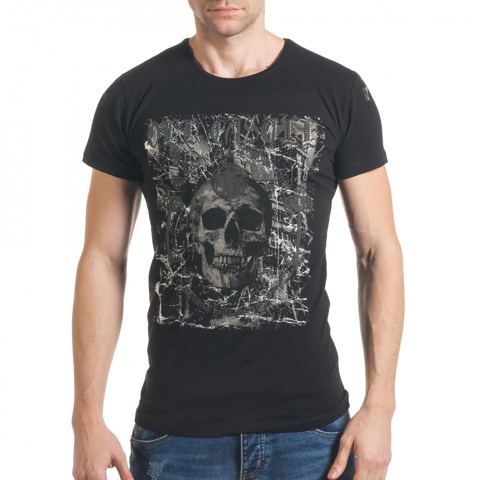 8b0e70afbe4b Ανδρική μαύρη κοντομάνικη μπλούζα Berto Lucci tsf060217-87 ...