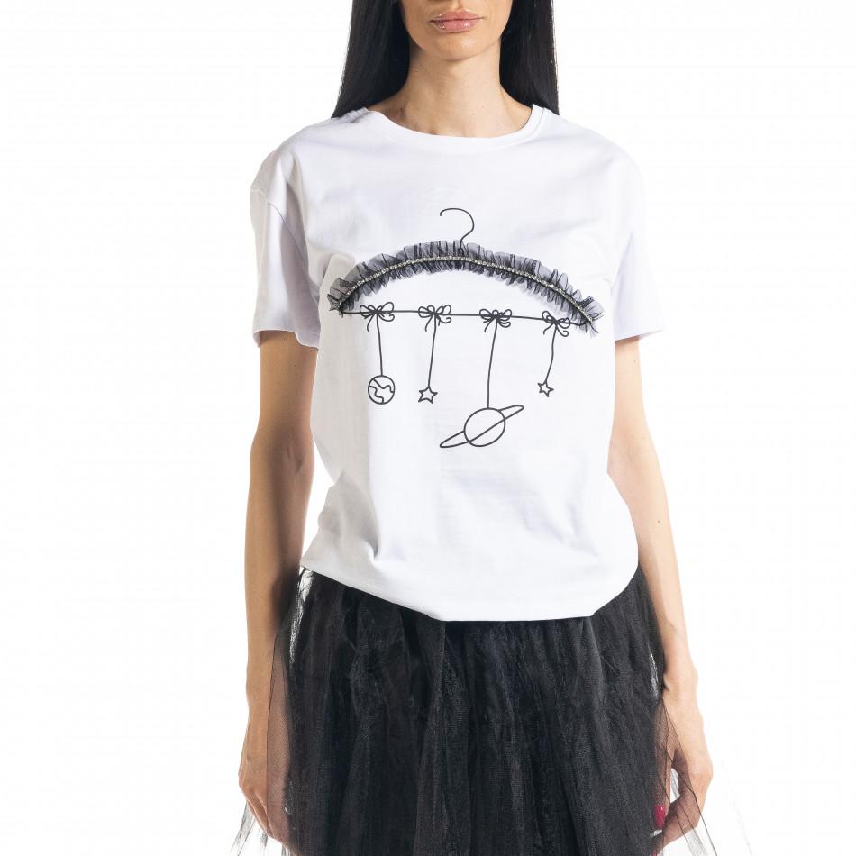 Γυναικεία λευκή κοντομάνικη μπλούζα My Universe il080620-8