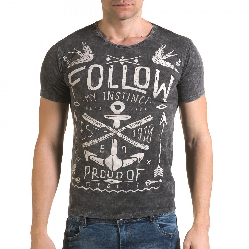 Ανδρική γκρι κοντομάνικη μπλούζα Lagos il120216-16