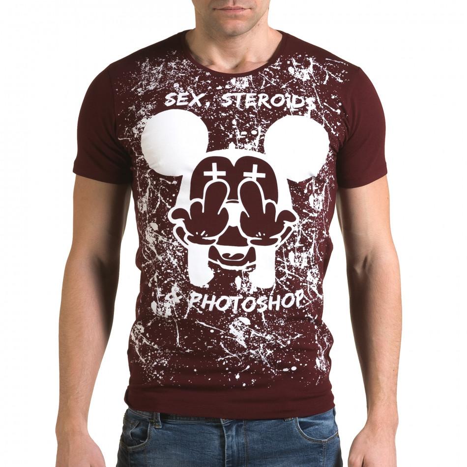 Ανδρική κόκκινη κοντομάνικη μπλούζα Lagos il120216-14