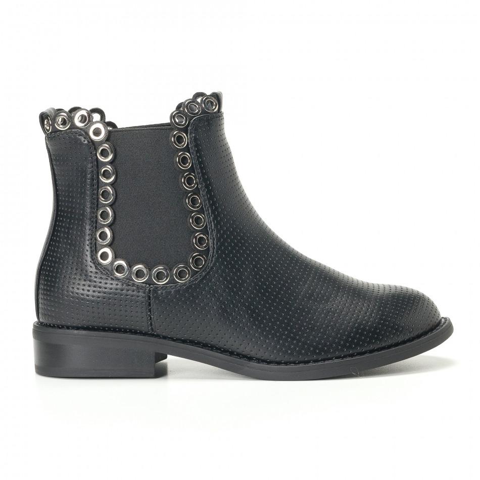 Γυναικεία μαύρα μποτάκια Diamantique it240118-3
