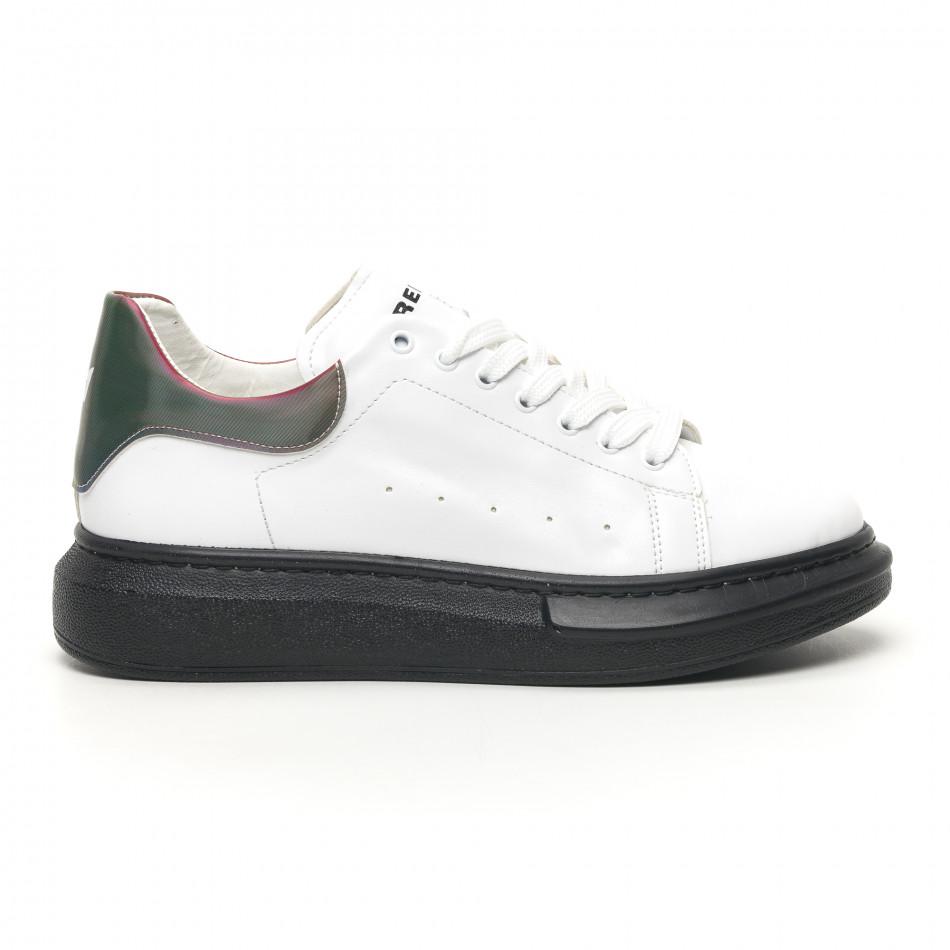 Ανδρικά λευκά sneakers με χοντρή σόλα tr180320-35