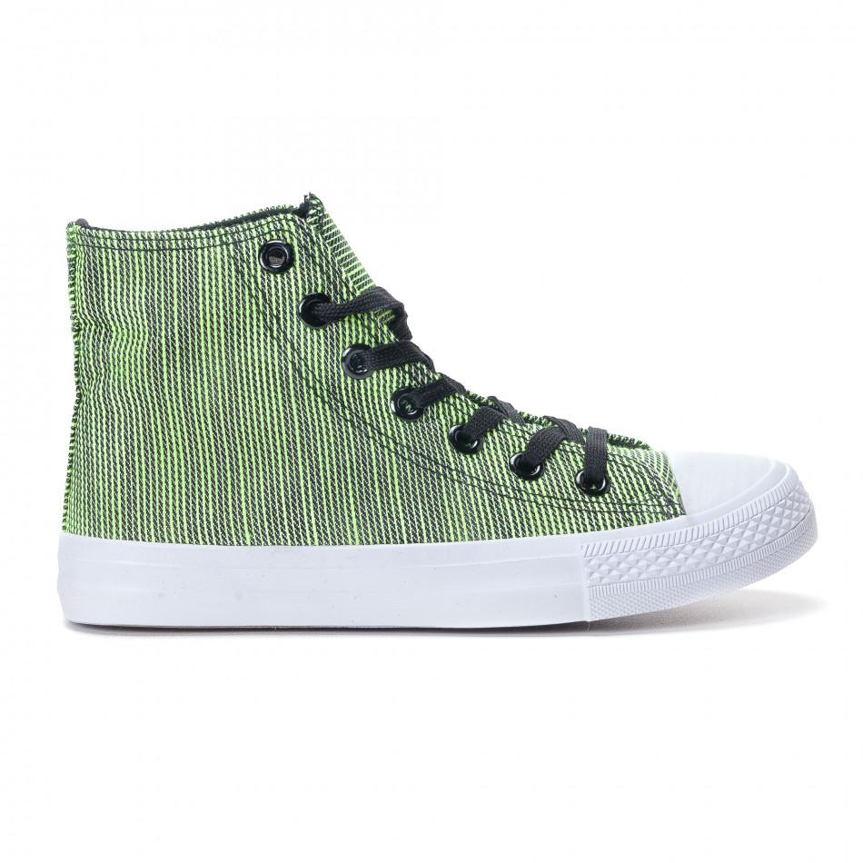 Ψηλά γυναικεία υφασμάτινα sneakers με πράσινες και μαύρες ρίγες it240118-9