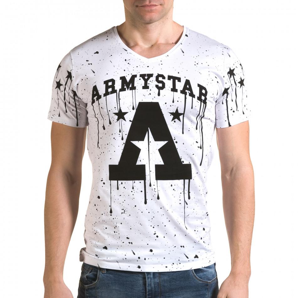 Ανδρική λευκή κοντομάνικη μπλούζα Lagos il120216-40