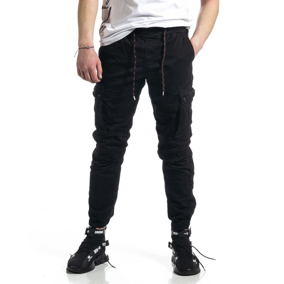 Ανδρικό μαύρο παντελόνι Cargo Jogger tr270221-3