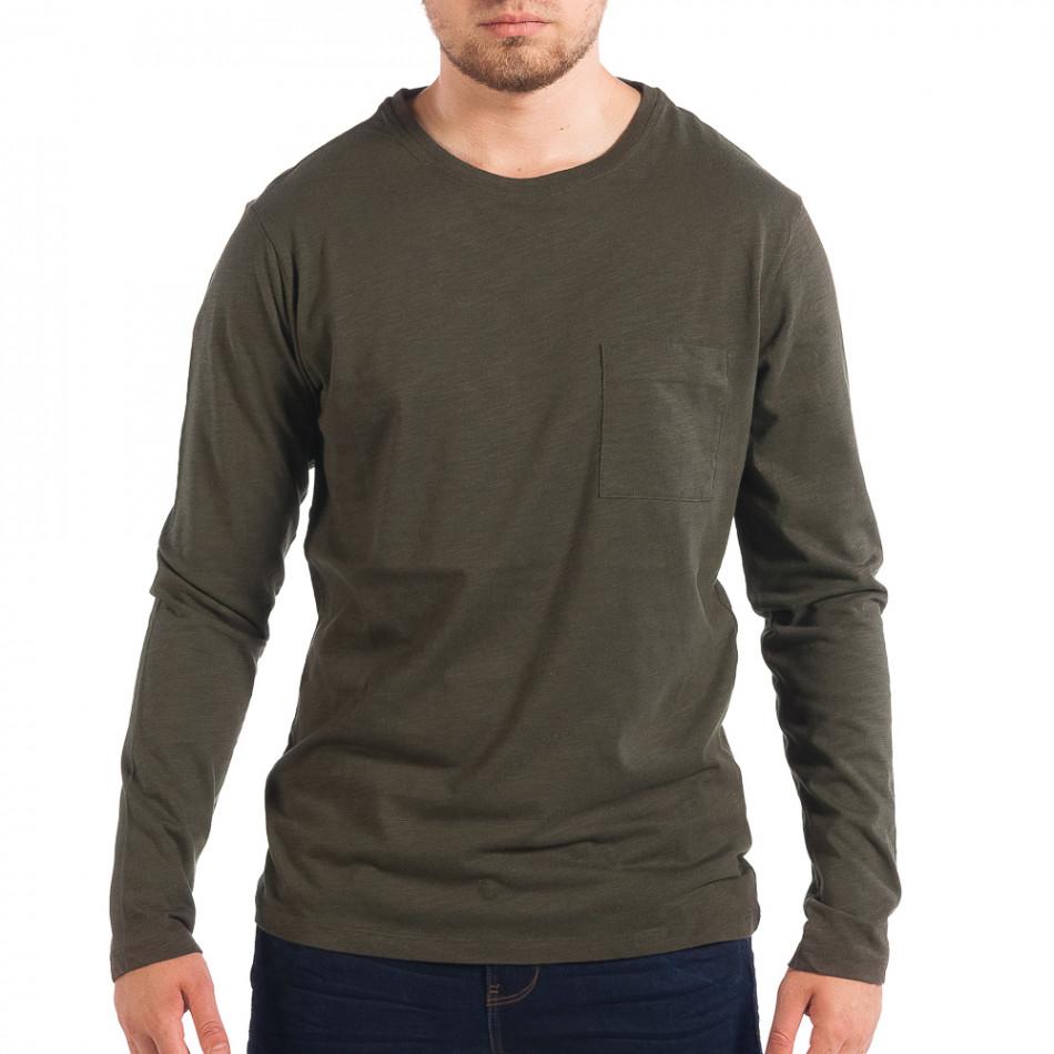 Ανδρική πράσινη μπλούζα με τσέπη RESERVED lp070818-47