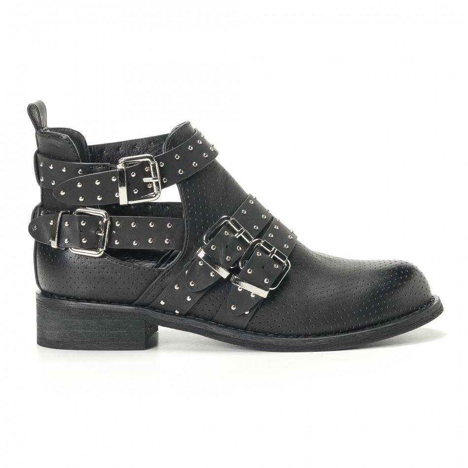 Γυναικεία μαύρα μποτάκια Diamantique it240118-4