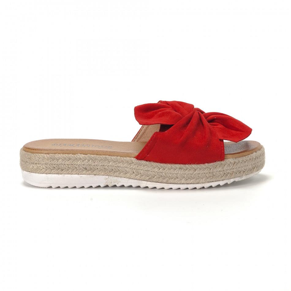 11d69588239b Γυναικείες κόκκινες παντόφλες με φιόγκο it230418-7 - Fashionmix.gr