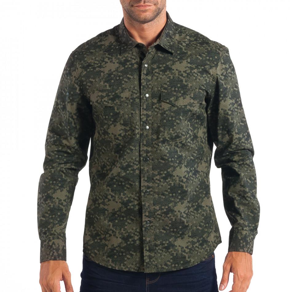 Ανδρικό πράσινο πουκάμισο παραλλαγής lp070818-118