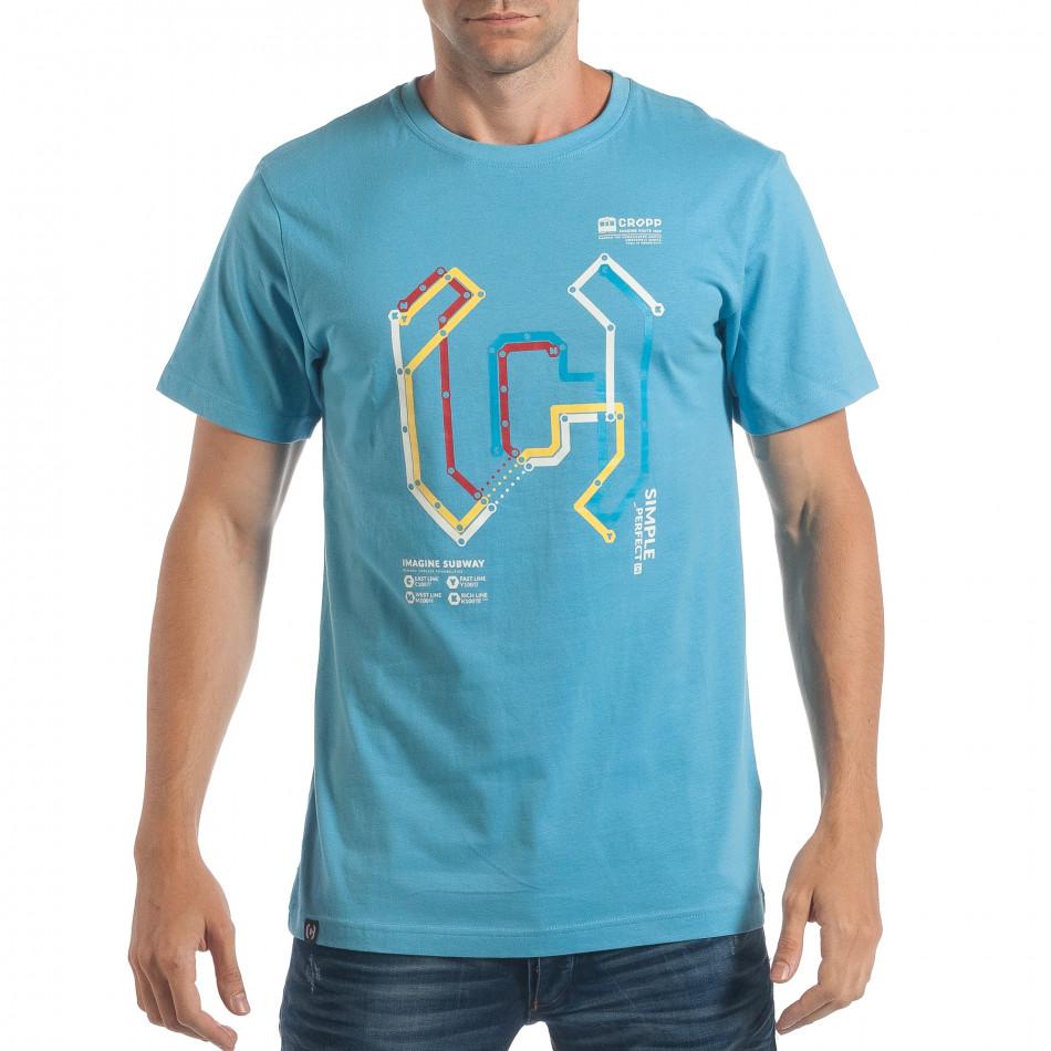 Ανδρική γαλάζια κοντομάνικη μπλούζα CROPP lp180717-204