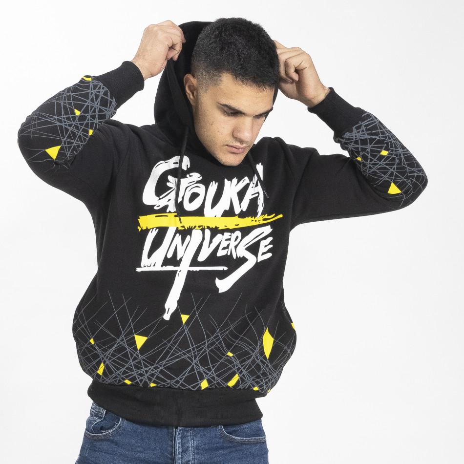 Ανδρικό μαύρο φούτερ hoodie με πριντ it071119-64