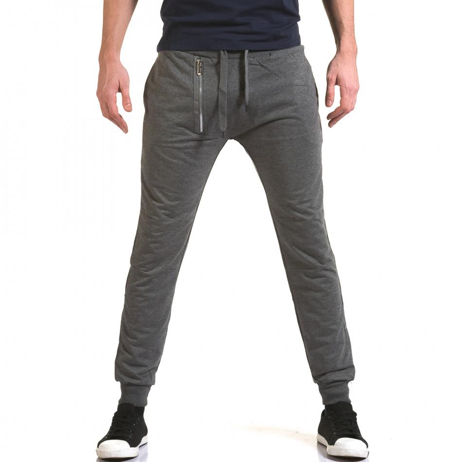 Ανδρικό γκρι παντελόνι jogger Belmode it090216-43