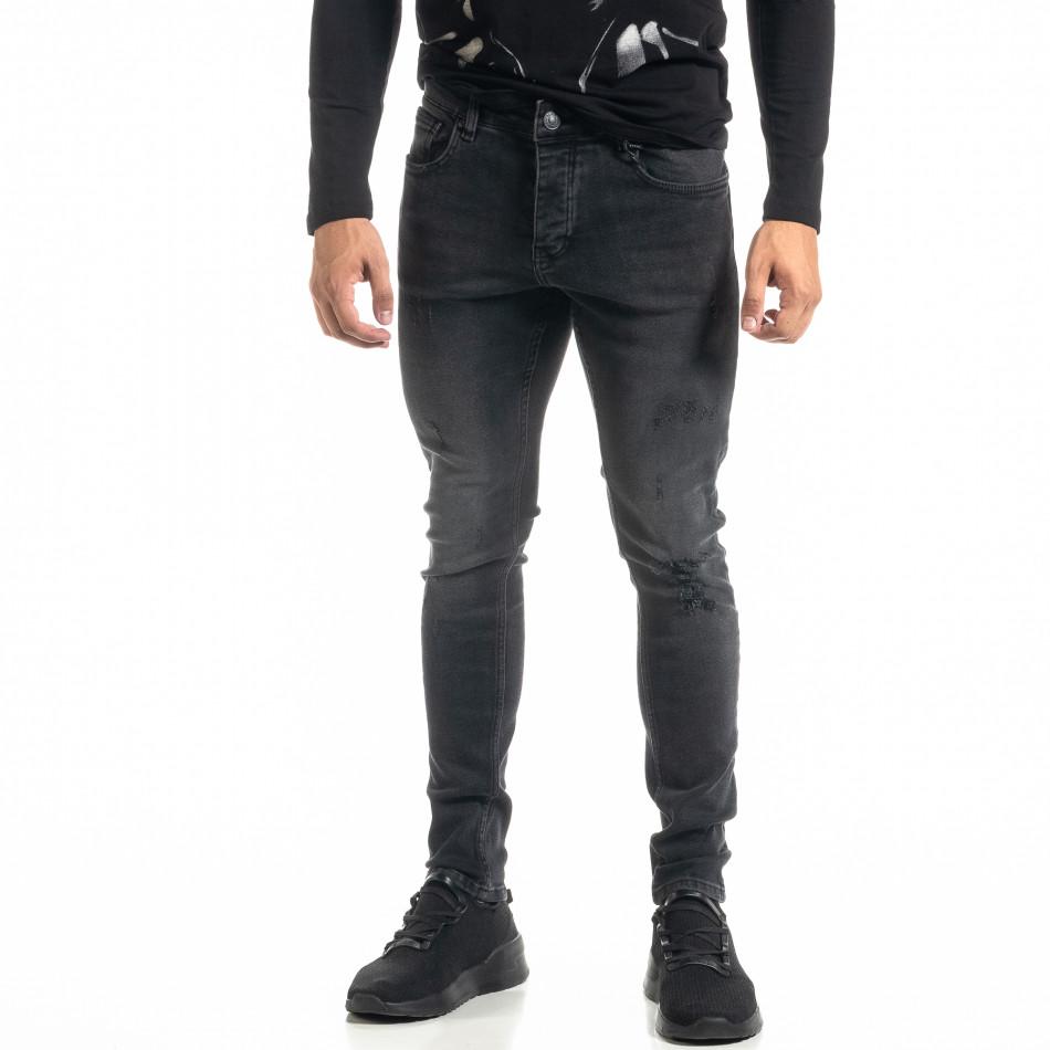 Ανδρικό μαύρο τζιν με σκισίματα tr020920-11