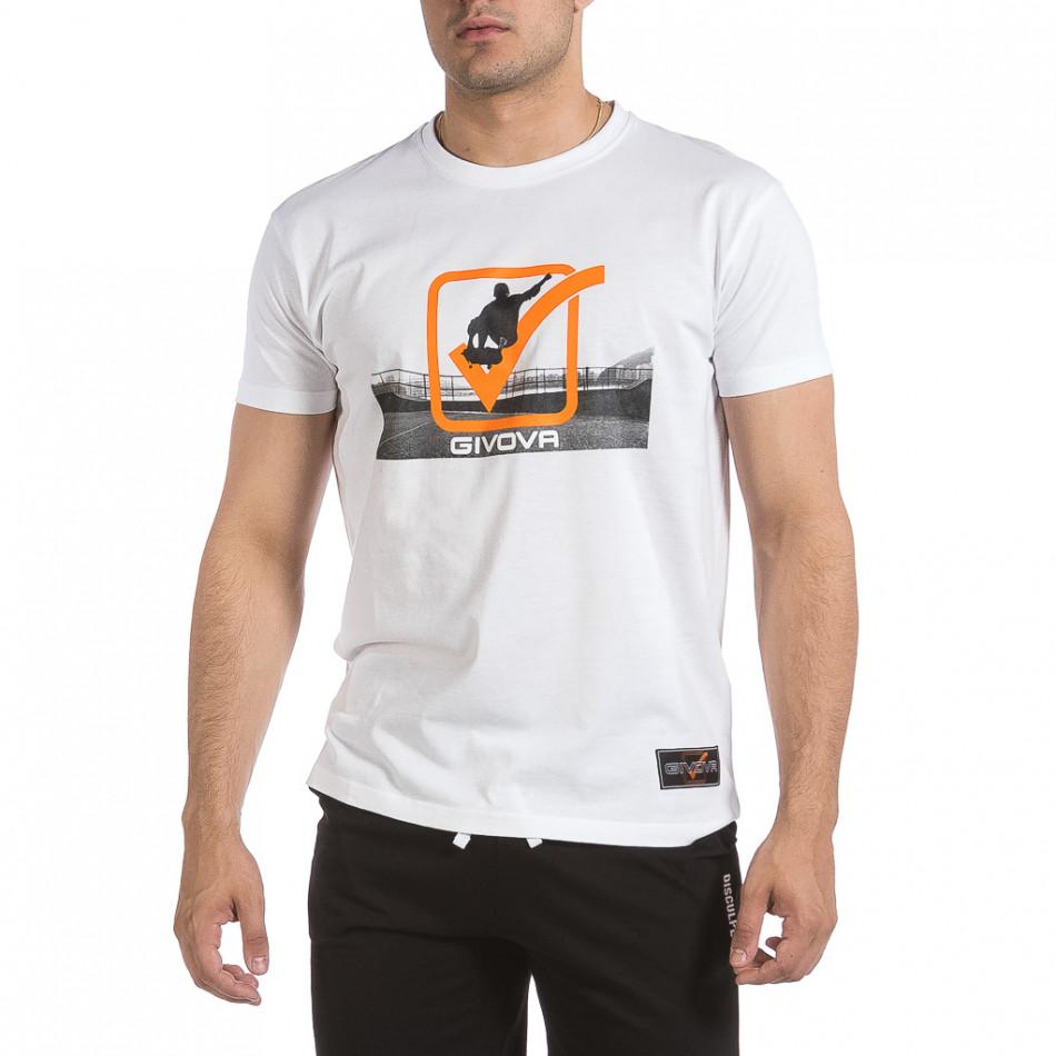 Ανδρική λευκή κοντομάνικη μπλούζα Givova it040621-18