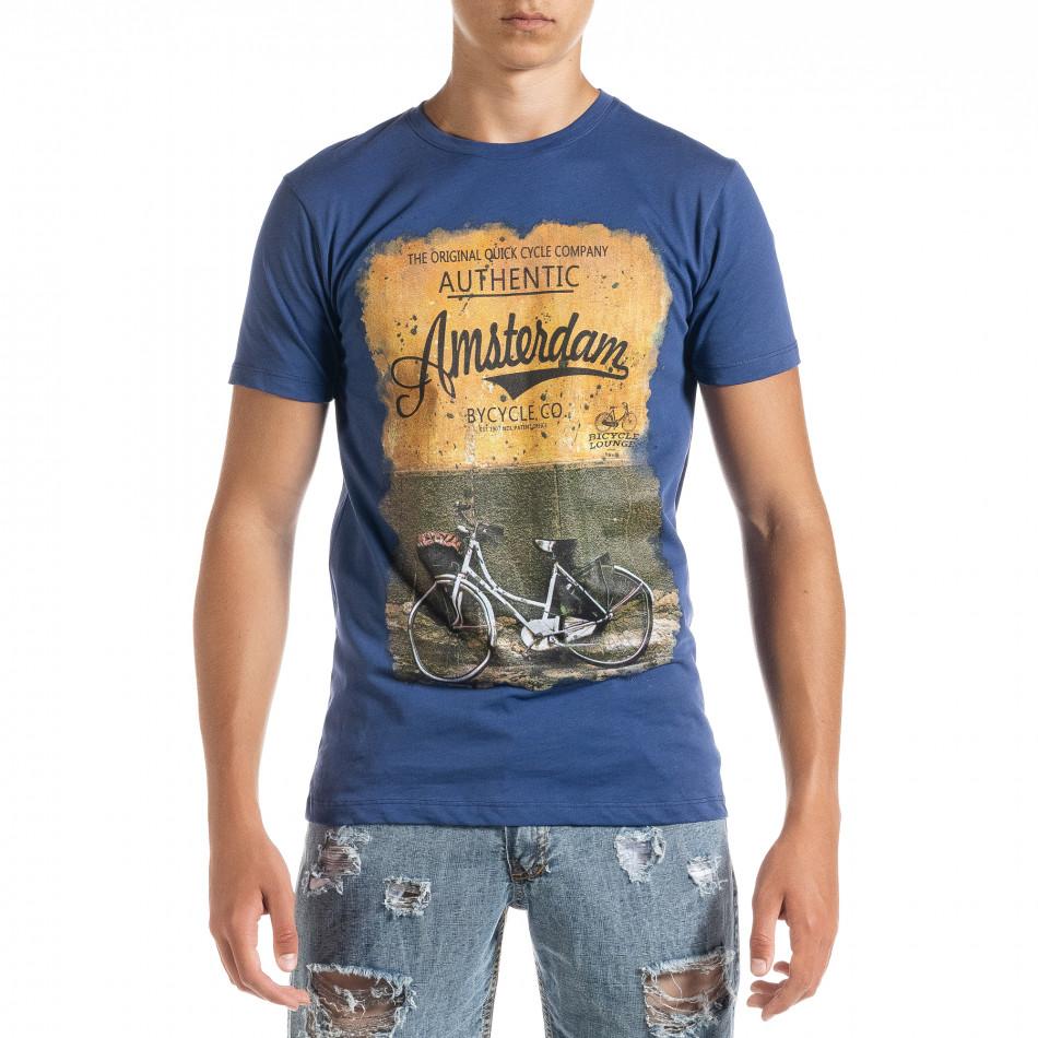 Ανδρική γαλάζια κοντομάνικη μπλούζα D.Park it010720-24