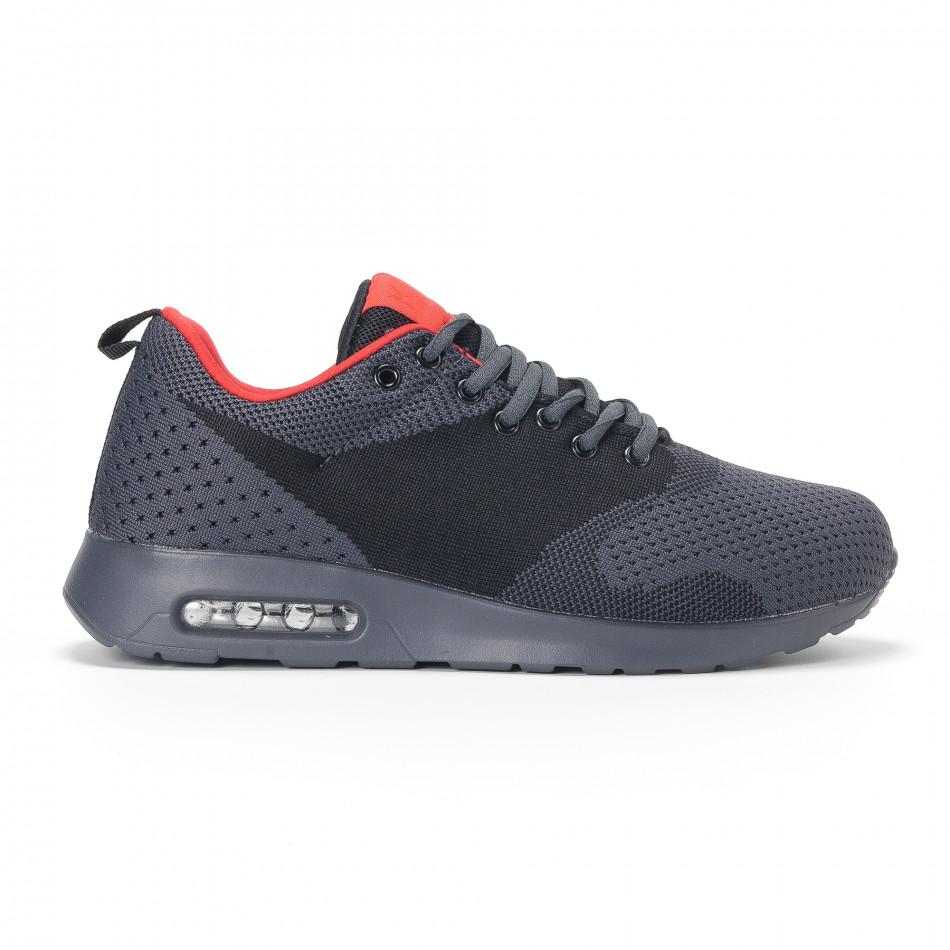 Ανδρικά σκούρο γκρι αθλητικά παπούτσια με σόλες αέρα it160318-20
