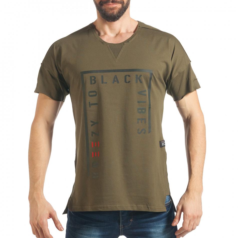Ανδρική πράσινη κοντομάνικη μπλούζα Breezy tsf020218-14