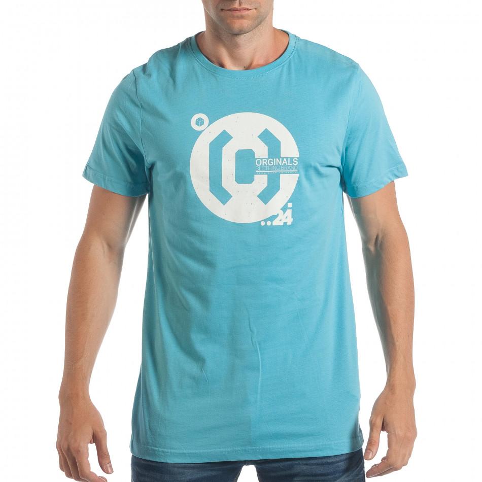 Ανδρική γαλάζια κοντομάνικη μπλούζα CROPP lp180717-180