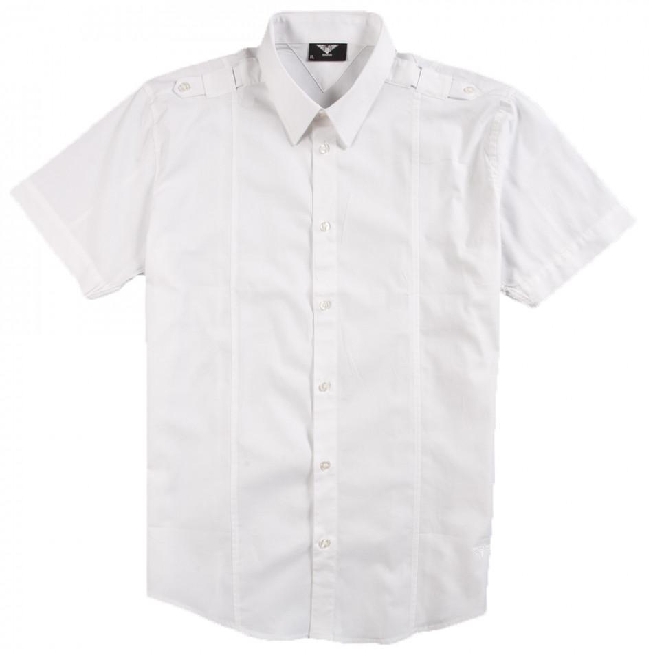 Ανδρικό λευκό κοντομάνικο πουκάμισο Gnious 120213-2