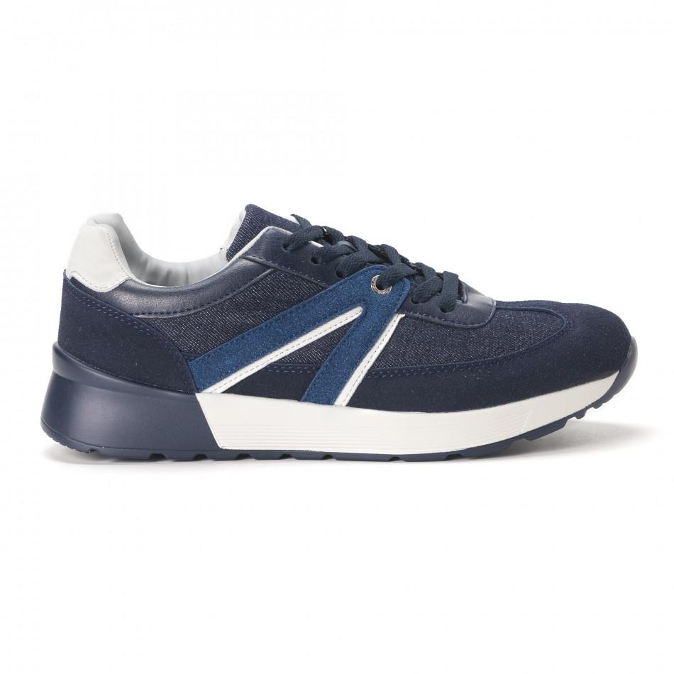 Ανδρικά μπλε sneakers από συνδυασμό υφασμάτων it020618-20
