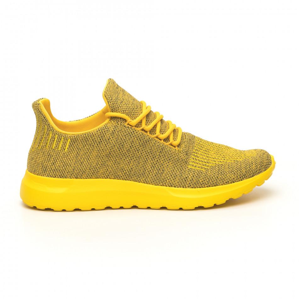 Ανδρικά κίτρινα μελάνζ αθλητικά παπούτσια με διακόσμηση it171019-2