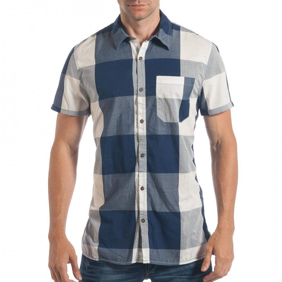ec0a1cd78a04 Ανδρικό γαλάζιο κοντομάνικο πουκάμισο CROPP lp180717-126 - Fashionmix.gr