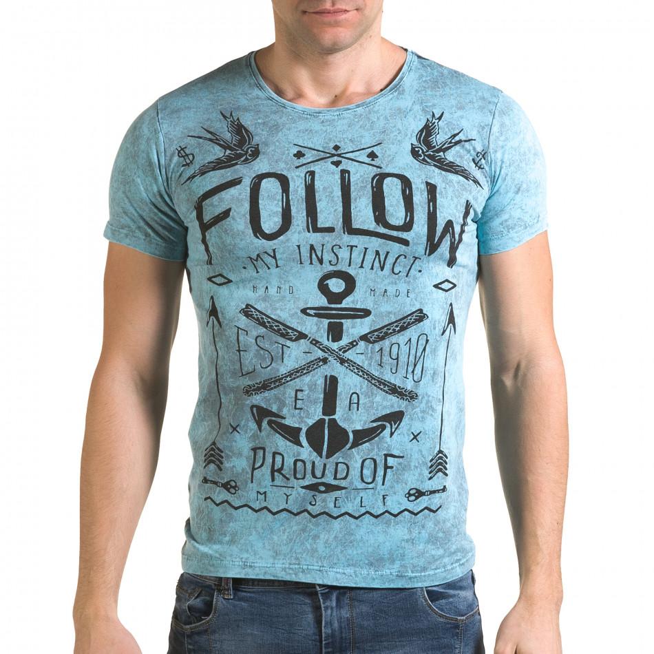 Ανδρική γαλάζια κοντομάνικη μπλούζα Lagos il120216-15