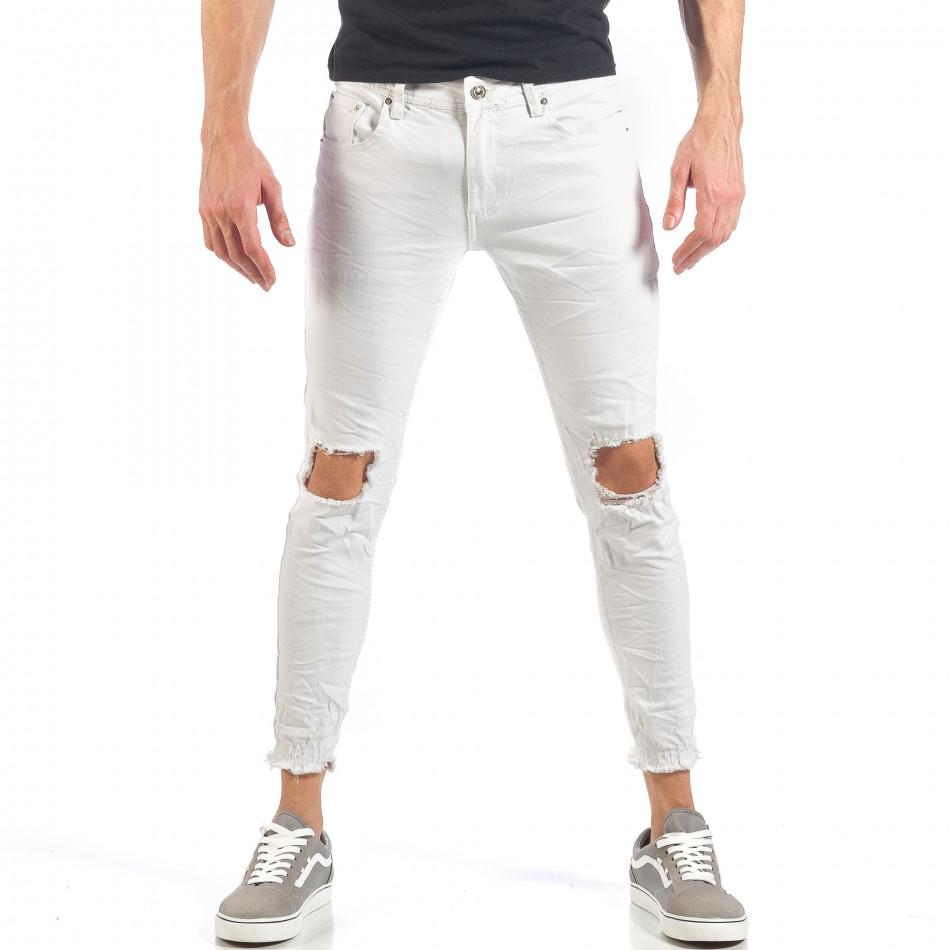 be22902ae1cb Ανδρικό λευκό τζιν με σκισίματα it260318-94 - Fashionmix.gr