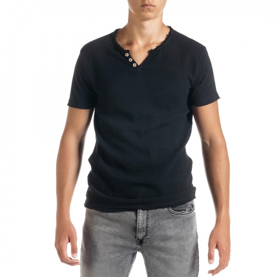 Ανδρική μαύρη κοντομάνικη μπλούζα Duca Homme it010720-25