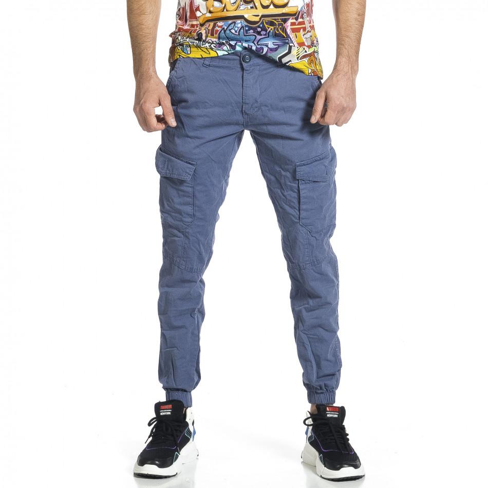 Ανδρικό γαλάζιο παντελόνι cargo jogger tr270421-3
