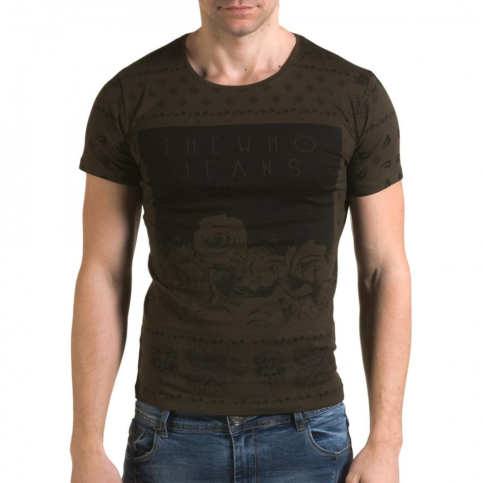 Ανδρική πράσινη κοντομάνικη μπλούζα Lagos il120216-54