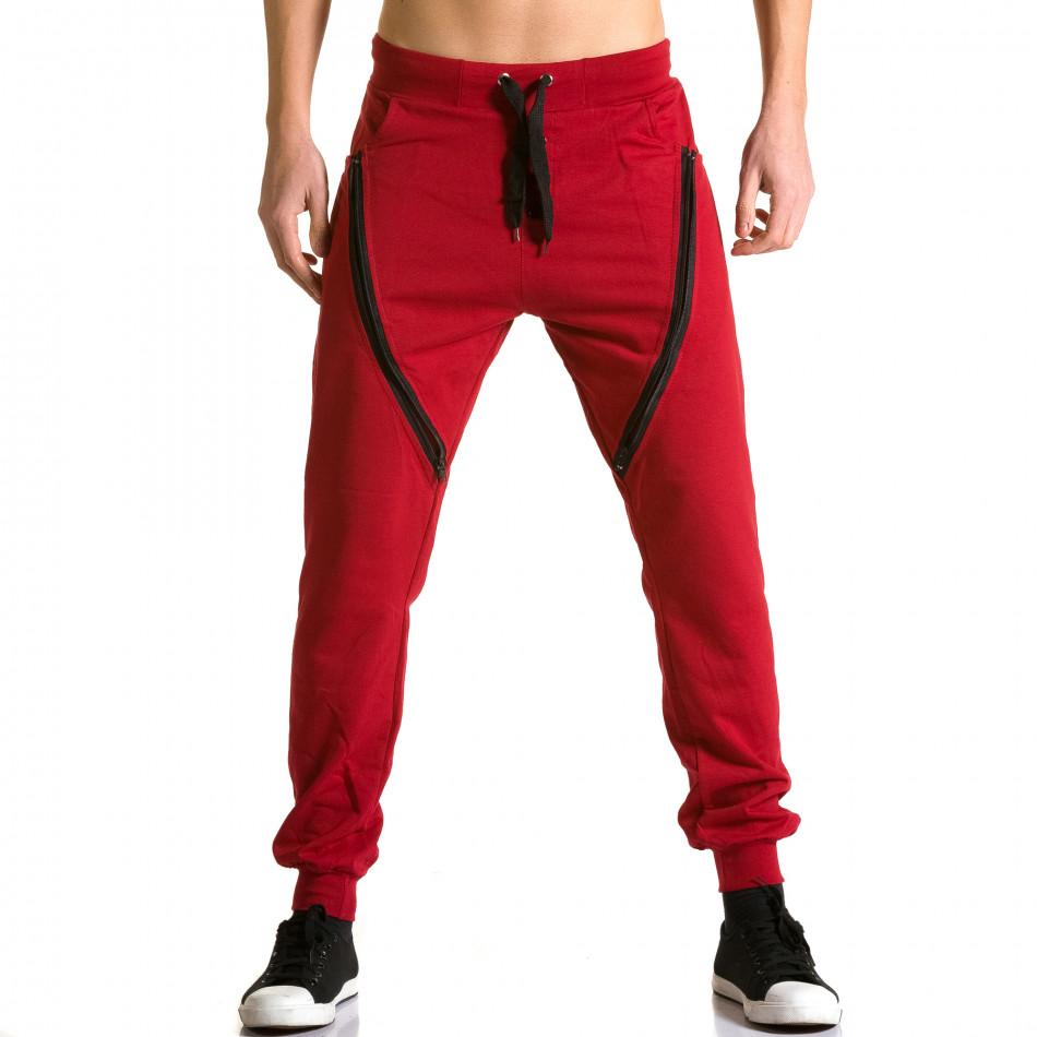 Ανδρικό κόκκινο παντελόνι jogger DelPiero ca190116-24