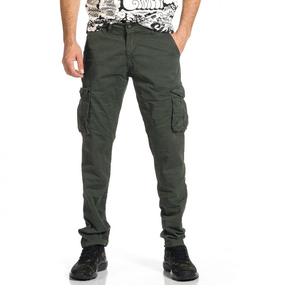 Ανδρικό πράσινο παντελόνι cargo σε ίσια γραμμή Plus Size tr270421-17