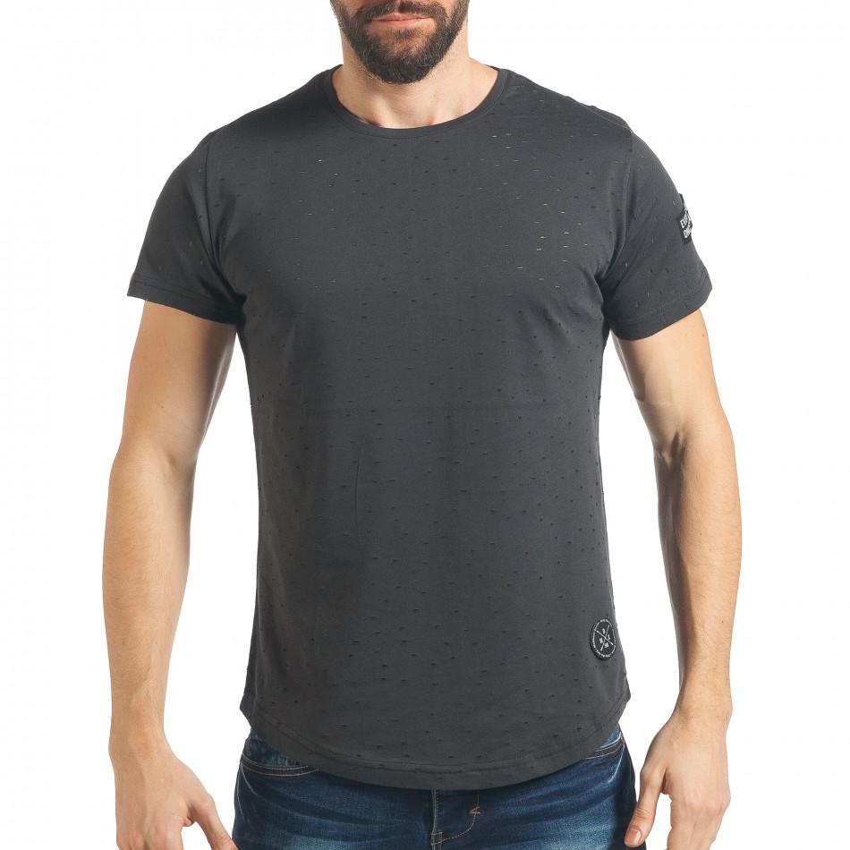 Ανδρική γκρι κοντομάνικη μπλούζα Madmext tsf020218-43