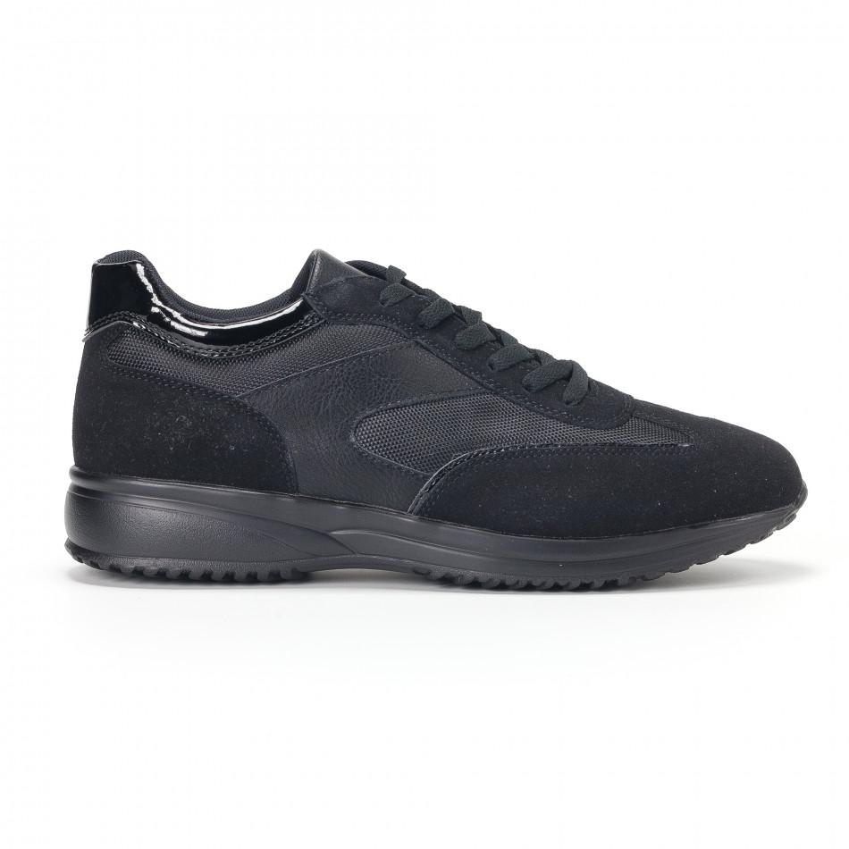 Ανδρικά μαύρα αθλητικά παπούτσια με ψηλή σόλα it160318-38