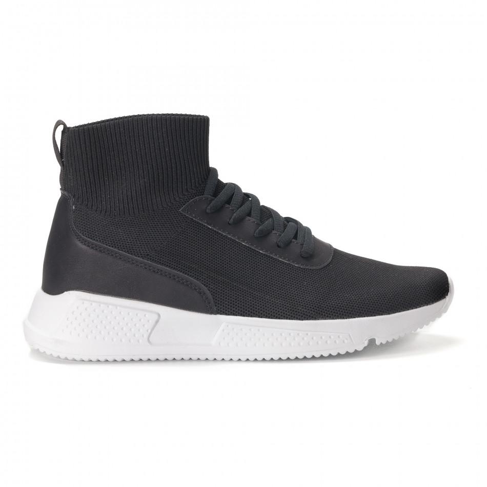 Ανδρικά μαύρα αθλητικά παπούτσια κάλτσα it020618-17