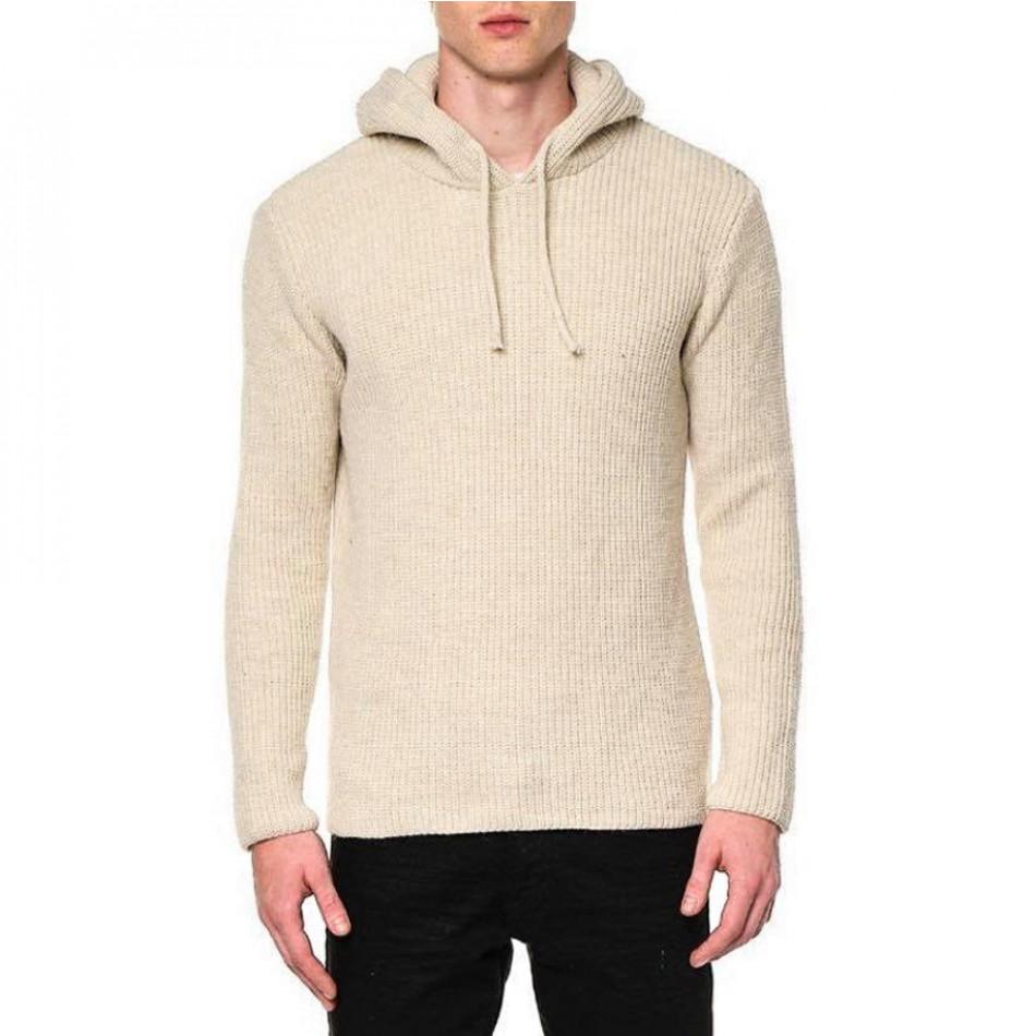 Ανδρικό μπεζ πουλόβερ με κουκούλα tr240921-6