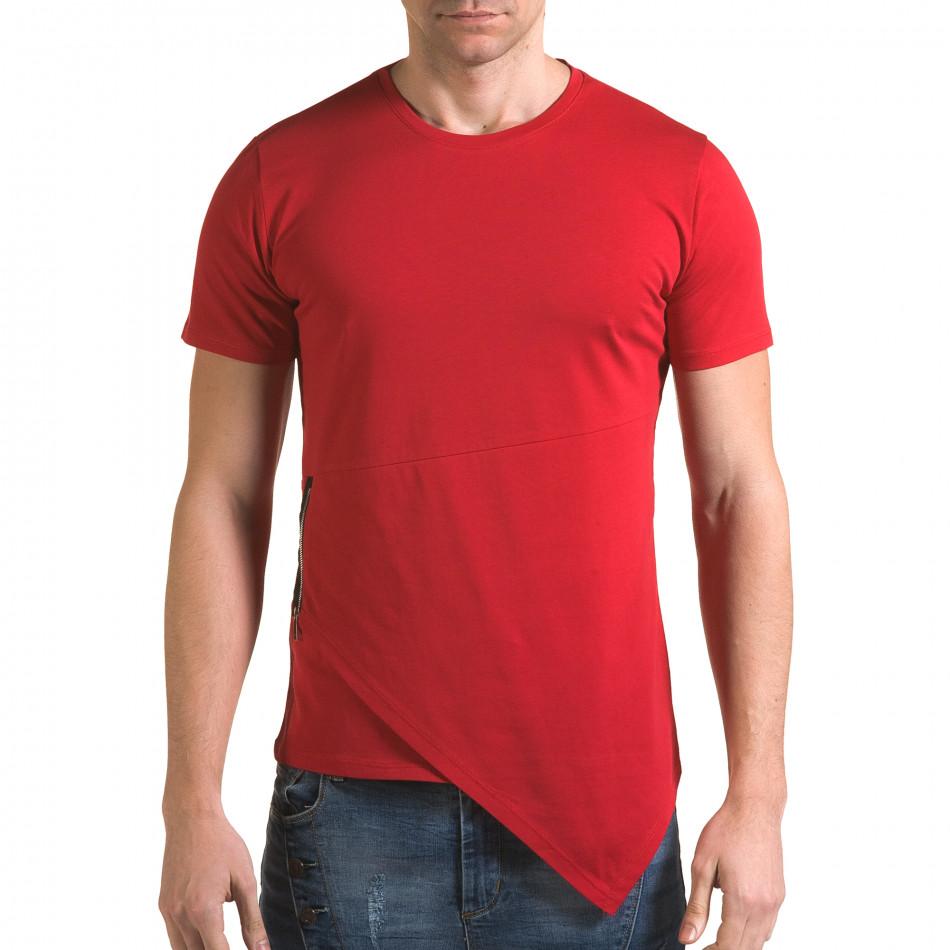 Ανδρική κόκκινη κοντομάνικη μπλούζα Man it090216-68