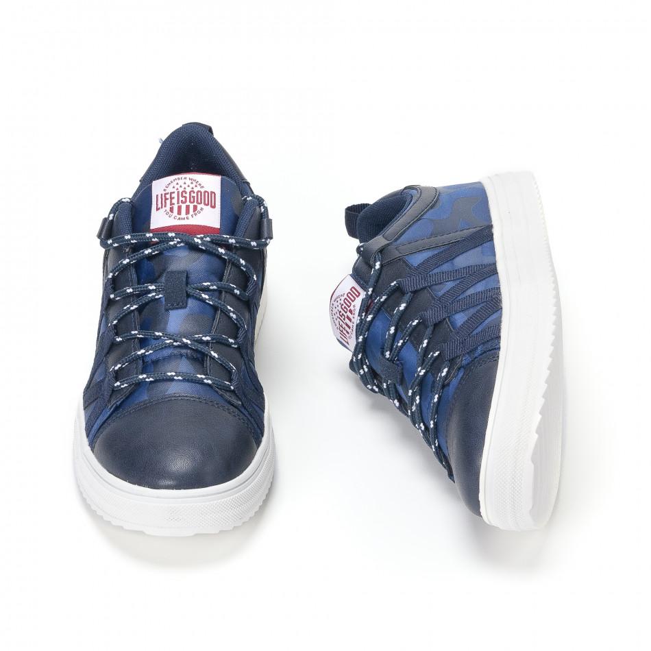 Ανδρικά μπλε sneakers παραλλαγής με κορδόνια it160318-8