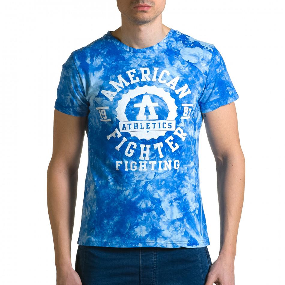 Ανδρική γαλάζια κοντομάνικη μπλούζα P2P ca190116-43